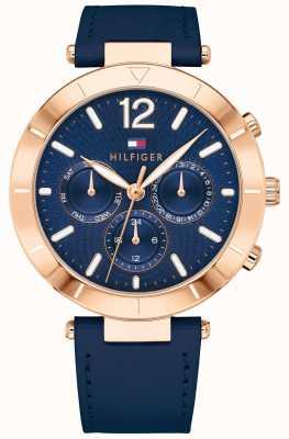 Tommy Hilfiger Womens chloe horloge dag datum blauwe siliconen val 1781881