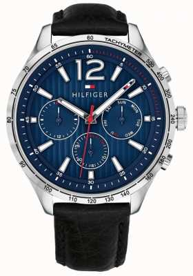 Tommy Hilfiger Heren gavin chronograaf horloge zwart lederen band 1791468