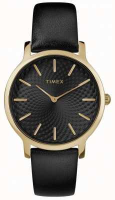Timex Skyline 34mm zwart lederen band zwarte wijzerplaat TW2R36400