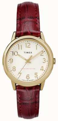 Timex Womens 30mm eenvoudige lezer bordeaux croc riem crème wijzerplaat TW2R65400