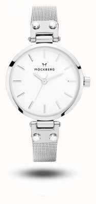 Mockberg Elise petite RVS mesh armband witte wijzerplaat MO402