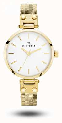 Mockberg Livia petite gold pvd plated mesh armband witte wijzerplaat MO401