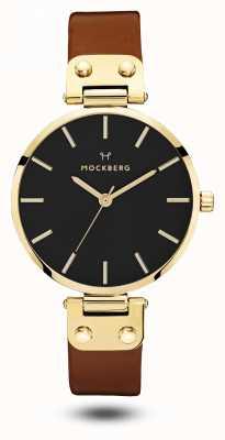 Mockberg Ilse zwart, bruine riem zwarte wijzerplaat MO114