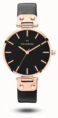 Mockberg Sigrid zwarte rosé pvd vergulde zwarte lederen band MO110