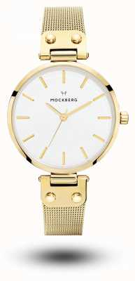 Mockberg Livia gold pvd plated mesh armband witte wijzerplaat MO1601