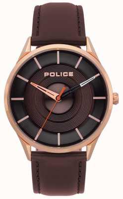 Police Burbank bruin lederen herenhorloge 15399JSR/12