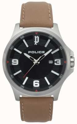 Police Heren clan lichtbruin leren horloge 15384JS/02