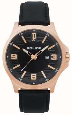 Police Heren clan zwart lederen horloge 15384JSR/02
