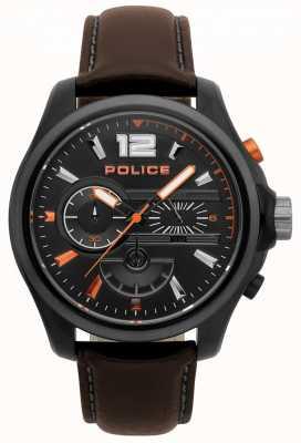 Police Heren denver donker bruin lederen horloge 15403JSBU/02