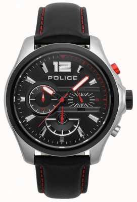 Police Heren denver zwart en rood lederen bandhorloge 15403JSTB/02