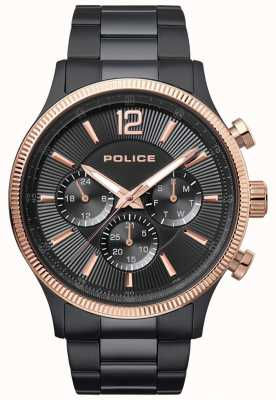 Police Heren verweerd tweekleurig ip verguld armbandhorloge 15302JSBR/02M