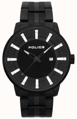 Police Heren vuursteen zwart pvd verguld horloge 15391JSB/02M