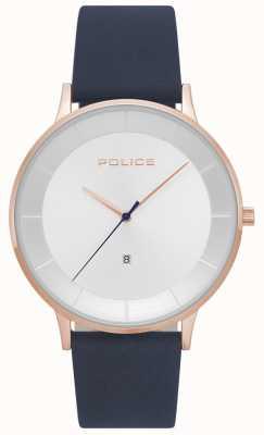 Police Heren lettertype horloge in de vorm van een wijzerplaat leer 15400JSR/04