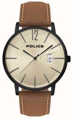 Police Heren deugd bruin leren horloge 15307JSB/07