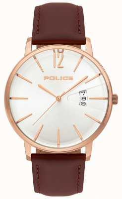 Police Heren deugd bruin leren horloge 15307JSR/01
