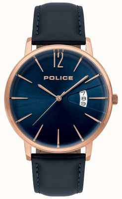 Police Heren deugd blauw lederen horloge 15307JSR/03