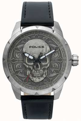 Police Mens mystieke schedel wijzerplaat zwart lederen horloge 15397JS/57