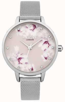 Lipsy Dames zilver mesh pink floral wijzerplaathorloge LP576