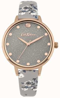 Cath Kidston Womens glittery eilandtros grijs bandhorloge CKL056ERG