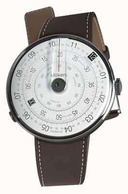 Klokers Klok 01 zwart horloge hoofd chocolade bruin enkele riem KLOK-01-D2+KLINK-01-MC4