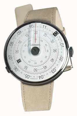 Klokers Klok 01 zwarte horlogekast grijze alcantara enkele riem KLOK-01-D2+KLINK-01-MC6