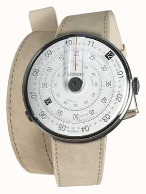 Klokers Klok 01 zwarte horlogekast grijze alcantara dubbele riem KLOK-01-D2+KLINK-02-380C6