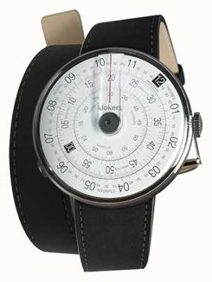 Klokers Klok 01 zwart horloge hoofdmat zwart 420mm dubbele riem KLOK-01-D2+KLINK-02-420C2