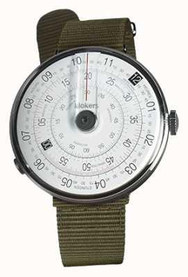 Klokers Klok 01 zwart horloge kop korstmosgroen textiel enkele riem KLOK-01-D2+KLINK-03-MC2
