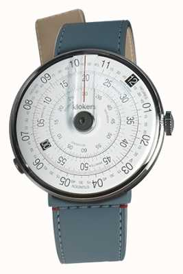 Klokers Klok 01 zwart horloge hoofd blauw jean zeestraat enkele riem KLOK-01-D2+KLINK-04-LC10