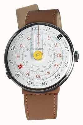 Klokers Klok 01 gele horloge kop karamel bruin zeestraat enkele riem KLOK-01-D1+KLINK-04-LC12