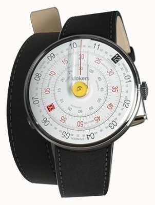 Klokers Klok 01 gele horloge hoofdmat zwarte dubbele riem KLOK-01-D1+KLINK-02-380C2