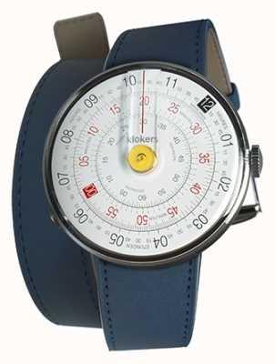 Klokers Klok 01 gele horlogeband indigo blauwe dubbele riem KLOK-01-D1+KLINK-02-380C3