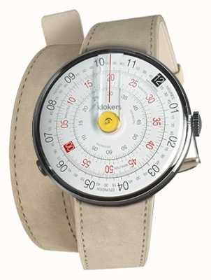 Klokers Klok 01 gele horlogekast grijze alcantara dubbele riem KLOK-01-D1+KLINK-02-380C6