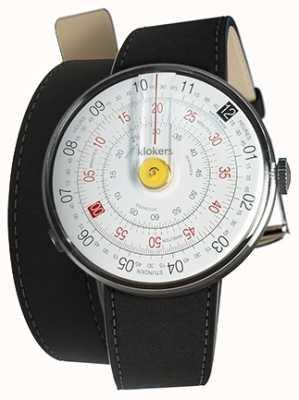 Klokers Klok 01 geel horloge hoofdmat zwart 420mm dubbele riem KLOK-01-D1+KLINK-02-420C2