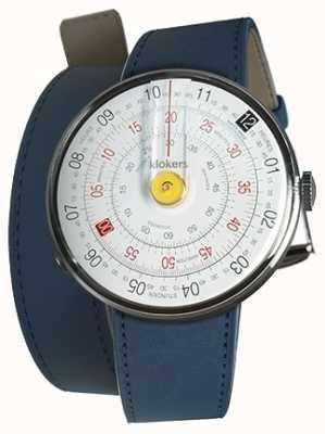 Klokers Klok 01 gele horlogekast indigo blauw 420mm dubbele riem KLOK-01-D1+KLINK-02-420C3