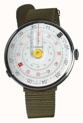 Klokers Klok 01 gele horloge hoofd korstmos groen textiel enkele riem KLOK-01-D1+KLINK-03-MC2