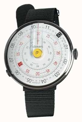 Klokers Klok 01 gele horloge hoofd zwart textiel enkele riem KLOK-01-D1+KLINK-03-MC3