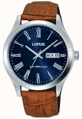 Lorus Bruin lederen band donkerblauw wijzerplaat datum & dag display RXN55DX9