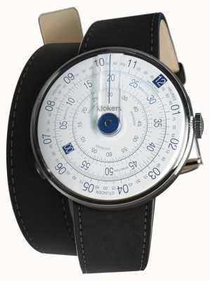 Klokers Klok 01 blauwe horloge hoofdmat zwarte dubbele riem KLOK-01-D4.1+KLINK-02-380C2
