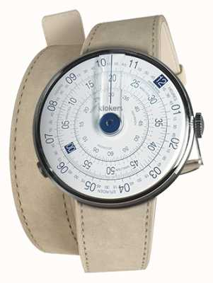 Klokers Klok 01 blauwe horlogekast grijze alcantara 420mm dubbele riem KLOK-01-D4.1+KLINK-02-420C6