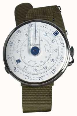 Klokers Klok 01 blauwe horloge hoofd korstmos groen textiel enkele riem KLOK-01-D4.1+KLINK-03-MC2