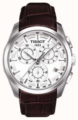 Tissot Heren coutourier chronograaf witte wijzerplaat bruine leren band T0356171603100