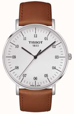 Tissot Heren altijd grote witte wijzerplaat bruine lederen band T1096101603700
