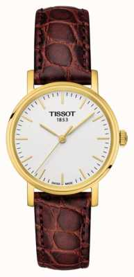Tissot Dames altijd bruin leer verguld swiss made T1092103603100