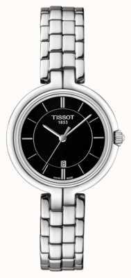 Tissot Womens flamingo zwarte wijzerplaat roestvrij stalen armband T0942101105100