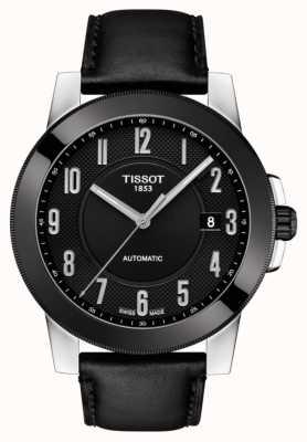 Tissot Heren gentleman swissmatic zwart lederen band T0984072605200