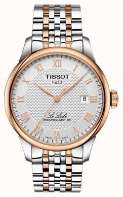 Tissot Le locle powermatic 80 heren tweekleurig roségoud verguld T0064072203300