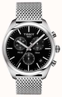 Tissot Heren pr100 chronograaf zwarte wijzerplaat roestvrij stalen armband T1014171105101