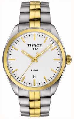 Tissot Mens pr100 roestvrijstalen vergulde armband met datum T1014102203100