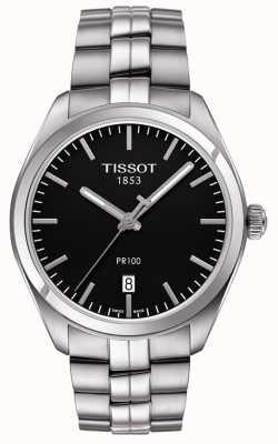 Tissot Mens pr100 zwarte wijzerplaat roestvrij stalen armband T1014101105100
